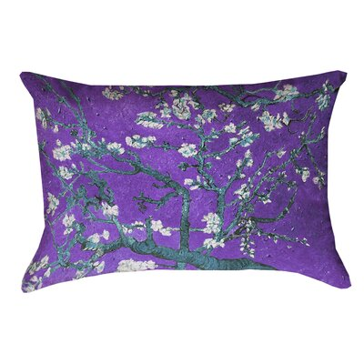 Lei Almond Blossom Double Sided Print Pillow Cover with Zipper Color: Purple/Blue