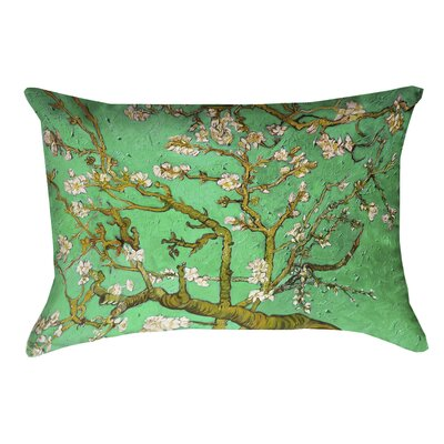 Lei Almond Blossom Linen Lumbar Pillow Color: Green