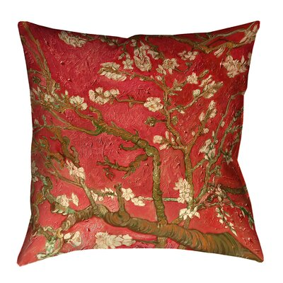 Lei Almond Blossom Outdoor Throw Pillow Color: Red, Size: 20 x 20
