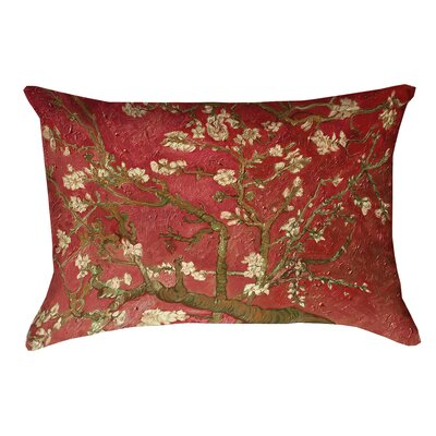 Lei Almond Blossom Lumbar Pillow with Concealed Zipper Color: Red