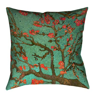 Lei Almond Blossom Throw Pillow Size: 18 x 18, Color: Green/Red