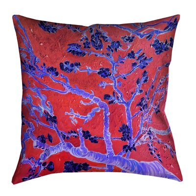 Lei Almond Blossom Throw Pillow Size: 18 x 18, Color: Red/Blue