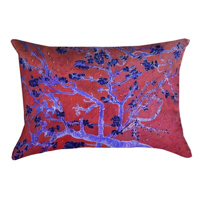 Lei Almond Blossom Rectangular Lumbar Pillow with Zipper Color: Red/Blue
