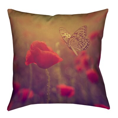Justin Duane Butterfly and Rose Pillow Cover Size: 14 H x 14 W, Color: Red/Orange