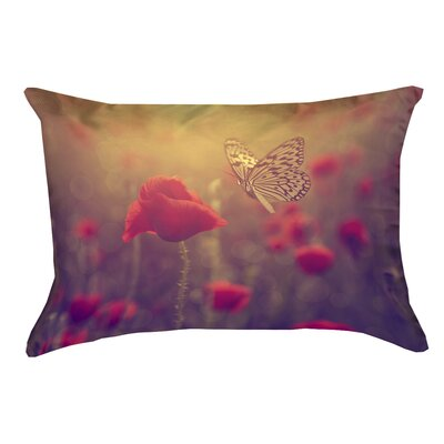 Mariani Butterfly and Rose 100% Cotton Lumbar Pillow Color: Red/Yellow