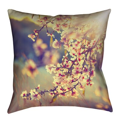 Ghost Train Cherry Blossoms Floral Pillow Cover Size: 26 H x 26 W