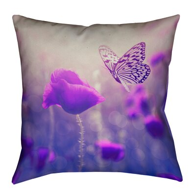 Mariani Butterfly and Rose Outdoor Throw Pillow Color: Purple, Size: 16 H x 16 W
