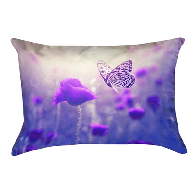 Mariani Butterfly and Rose 100% Cotton Lumbar Pillow Color: Purple