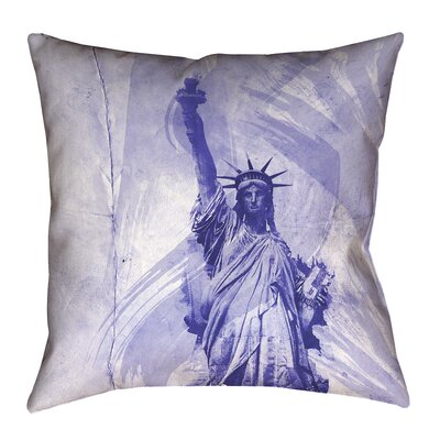 Houck Blue Watercolor Statue of Liberty Pillow Cover Size: 16 H x 16 W
