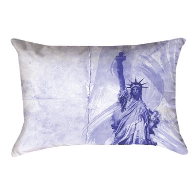 Houck Blue Watercolor Statue of Liberty Pillow Cover Size: