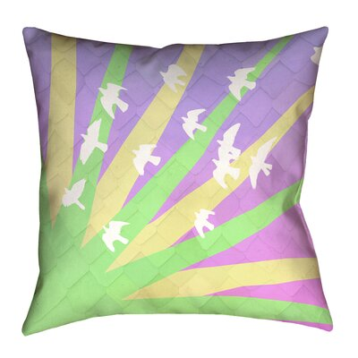Enciso Birds and Sun Square Pillow Cover Color: Green/Yellow/Purple, Size: 14 H x 14 W