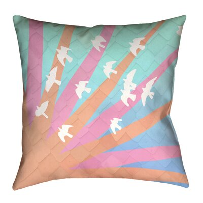 Katelyn Smith Birds and Sun Pillow Cover Size: 14 H x 14 W, Color: Orange/Pink/Blue Ombre