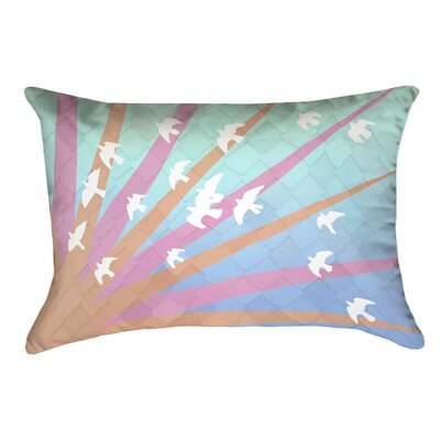 Enciso Birds and Sun Rectangular Lumbar Pillow Color: Orange/Pink/Blue