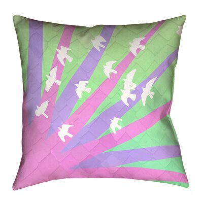 Katelyn Smith Birds and Sun Throw Pillow Size: 16 H x 16 W, Color: Purple/Green