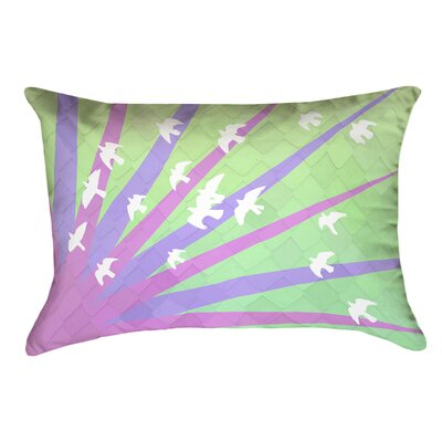 Enciso Birds and Sun Faux Leather Lumbar Pillow Color: Purple/Green