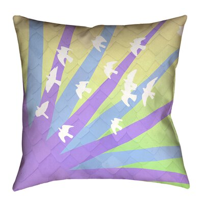 Katelyn Smith Birds and Sun Pillow Cover Size: 14 H x 14 W, Color: Purple/Blue/Yellow Ombre