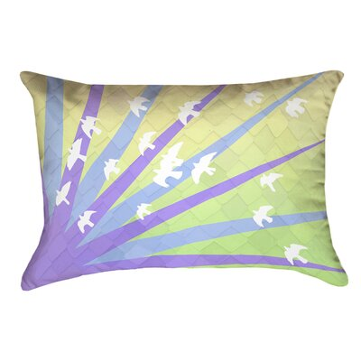 Enciso Birds and Sun Outdoor Lumbar Pillow Color: Purple/Blue/Yellow