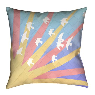Enciso Birds and Sun Faux Leather Pillow Cover Color: Pink/Yellow/Blue, Size: 18 H x 18 W