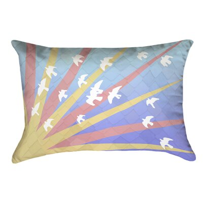 Enciso Birds and Sun Faux Leather Lumbar Pillow Color: Blue/Yellow/Orange