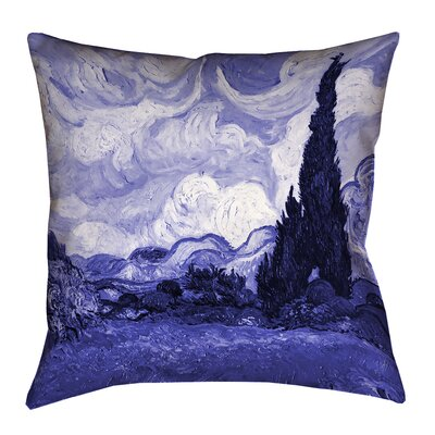 Meredosia Wheat Field with Cypresses Faux Linen Pillow Cover Size: 16 H x 16 W, Color: Blue