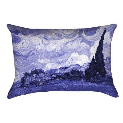 Meredosia Wheat Field with Cypresses Outdoor Lumbar Pillow Color: Blue