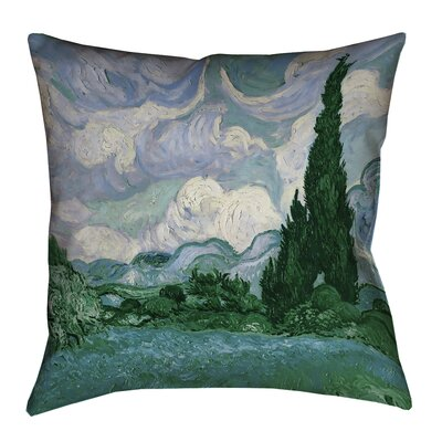 Meredosia Wheat Field with Cypresses Faux Linen Pillow Cover Size: 26 H x 26 W, Color: Green/Blue