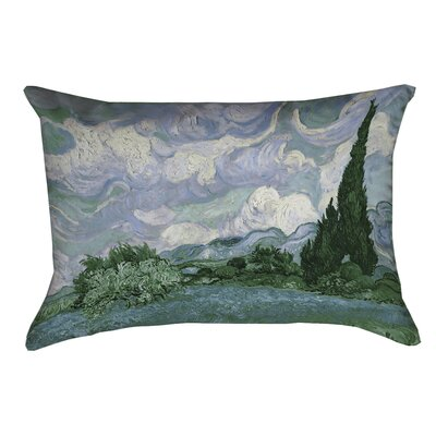 Meredosia Wheat Field with Cypresses Faux Linen Lumbar Pillow Color: Blue/Green