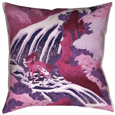 Yasmina Eclectic Horse and Waterfall Cotton Throw Pillow Size: 26 x 26