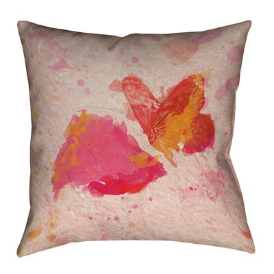 Katelyn Smith Pink Watercolor Butterfly and Rose Pillow Cover Size: 14 x 14