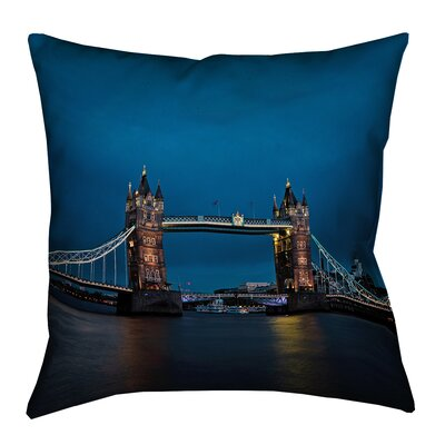 Holter Tower Bridge Faux Linen Throw Pillow Size: 26 x 26