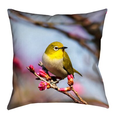 Holston Bird Faux Linen Pillow Cover Size: 14 x 14