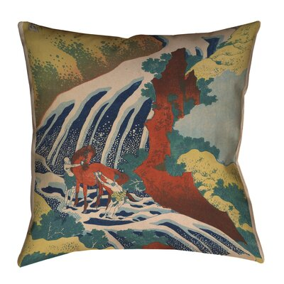 Montreal Horse and Waterfall Square Throw Pillow Size: 14 x 14