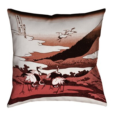 Montreal Japanese Cranes Square Outdoor Throw Pillow Size: 18 x 18