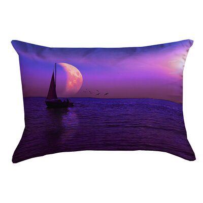 Jada Magenta Moon and Sailboat Cotton Lumbar Pillow