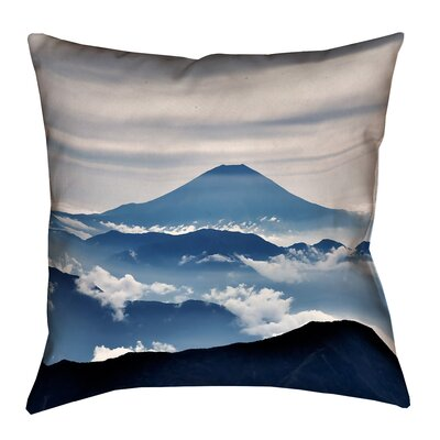 Hashimoto A View of Mt. Fuji Suede Throw Pillow Size: 14 x 14
