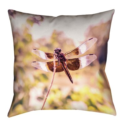 Hargis Dragonfly Square Linen Pillow Cover Size: 16 x 16