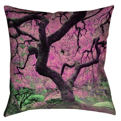 Ghost Train Japanese Maple Tree Floor Pillow Color: Pink, Size: 28 x 28