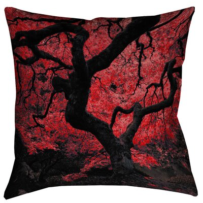 Ghost Train Japanese Maple Tree Floor Pillow Size: 28 x 28, Color: Red