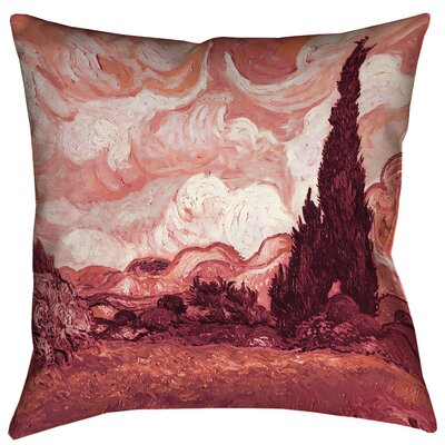 Bristol Woods Wheatfield with Cypresses Floor Pillow Color: Red, Size: 28 x 28