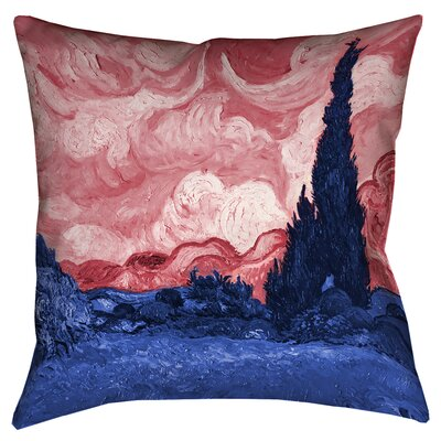 Bristol Woods Wheatfield with Cypresses Floor Pillow Size: 36 x 36, Color: Red/Blue