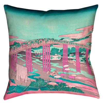 Enya Japanese Bridge Floor Pillow Color: Pink/Teal, Size: 40 x 40