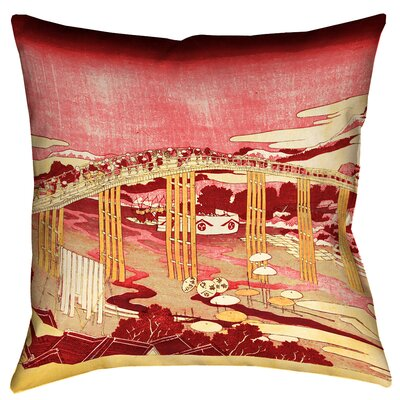 Enya Japanese Bridge Floor Pillow Size: 28 x 28, Color: Red/Orange