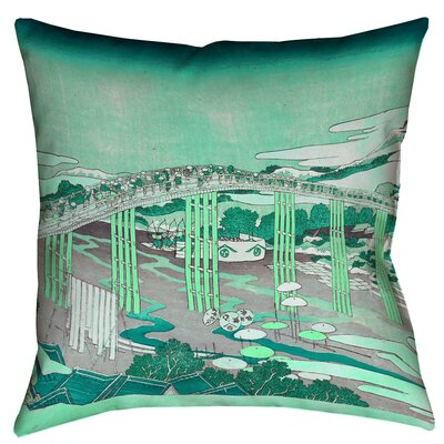 Enya Japanese Bridge Floor Pillow Color: Green, Size: 28 x 28