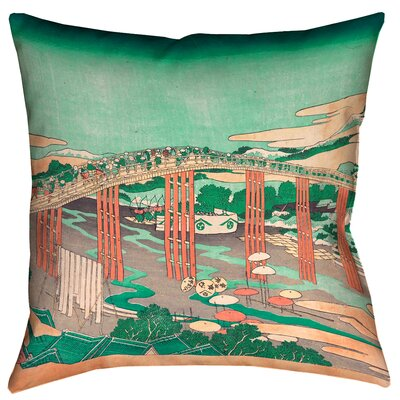 Enya Japanese Bridge Floor Pillow Color: Green/Peach, Size: 40 x 40