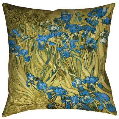 Bristol Woods Irises Floor Pillow Color: Yellow/Blue, Size: 28 x 28
