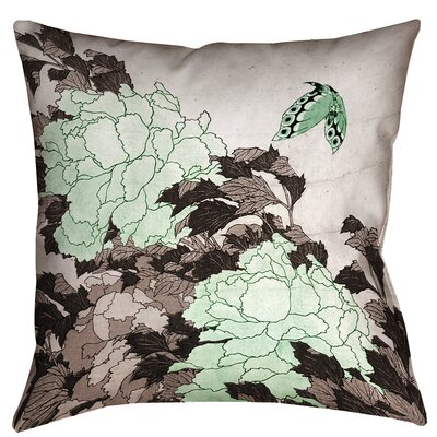 Greenbrier Valley Peonies with Butterfly Floor Pillow Color: Green, Size: 28 x 28