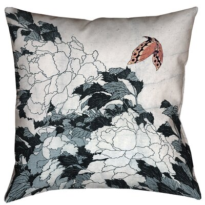 Greenbrier Valley Peonies with Butterfly Floor Pillow Color: Peach/Gray, Size: 36 x 36