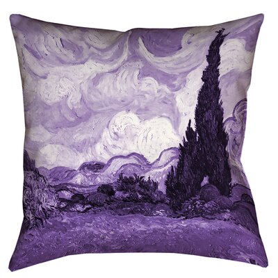 Bristol Woods Wheatfield with Cypresses Throw Pillow Size: 14 x 14, Color: Purple