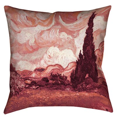 Bristol Woods Wheatfield with Cypresses Throw Pillow Color: Red, Size: 14 x 14