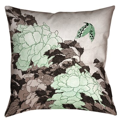 Enya Peonies with Butterfly Throw Pillow Size: 14 x 14, Color: Green
